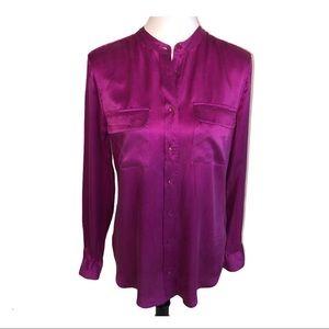 Equipment Mandarin Collar Silk Blouse Pink Medium